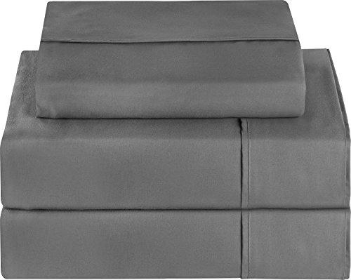 Premium 3 Piece Bed Sheet Set (Twin, Grey) 1 ...