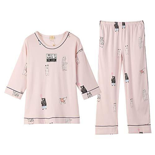 Dibujos Cuello M Y Xl Primavera Servicios Mujer De Para Pijamas 100 Conjunto Hogar Manga Redondo Informal El Animados Otoño Algodón Baujuxing g0CPx