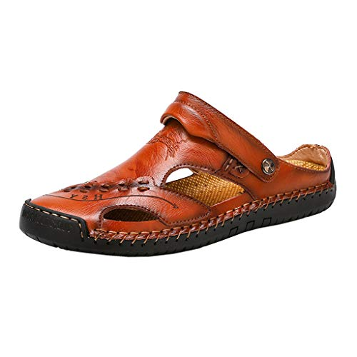 Leather Sandals for Men 2019 New Casual Lightweight Hiking Beach Water Shoes (US:11, Red 4)