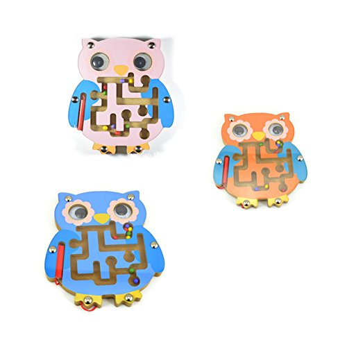 Qiyun Maze Toy Baby Small Pen Labyrinth Puzzle Toy Cartoon Animal Magnetic Maze Toy Intellectual Development Games Educational Blockstyle:owl 3 random color