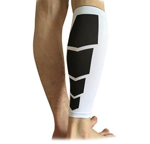 T-mac Basketball Shoes (Sports Support Knee Sleeve Calf Leg Compression Socks Brace Guard Basketball Protector by ShopIdea (White, XL))
