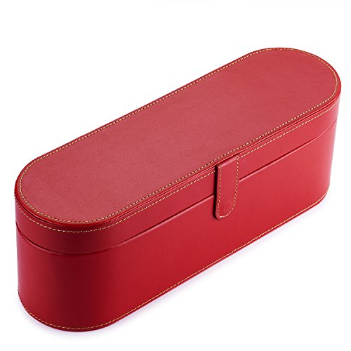 BASSTOP PU Leather Hard Box Organizer Train Case Portable Travel case for Dyson Supersonic Hair Dryer Storage Case (Red)