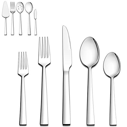 LIANYU 45-Piece Silverware Set with Serving Utensils, Stainless Steel Square Flatware Cutlery Set for 8, Eating Utensils Tableware Set, Mirror Finish