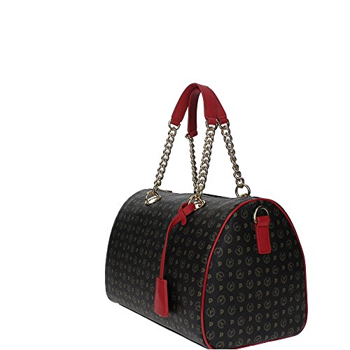 Pollini Heritage hand bag Tapiro Pvc calf leither black red