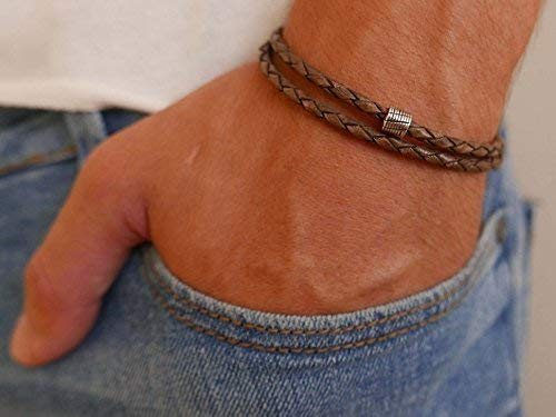 Handmade Brown Genuine Leather Wrap Bracelet For Men Set With Silver Plated Bead By Galis Jewelry - Leather Bracelet For Men