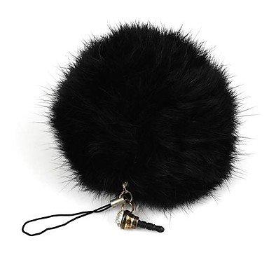 teléfono negro del enchufe del polvo bola de pelo de conejo ...