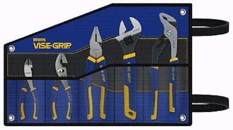 Irwin Industrial Tools 2078708 Slip Joint Diagonal Adjustable Wrench and Groove Joint ProPliers Kitbag Set Lineman 5-Piece