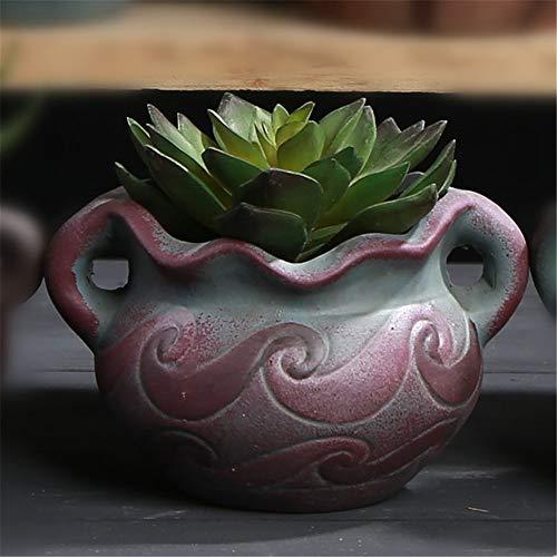 Mini Mediterranean Ceramic Dark Purple Striped Geometric Green Plant Fleshy Flower Pot, Plant Flower Pot Succulent Vase, Desktop Bonsai Container Decoration