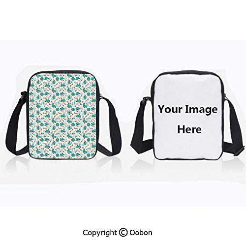 Polyester Anti-Theft Cross-Body Bag Unisex Adult Doodle Style Nature Love Themed Image with Hearts Flowers Leaves Decorative Turquoise Dark Brown White Zipper Bucket Anti Theft Bag For Journey