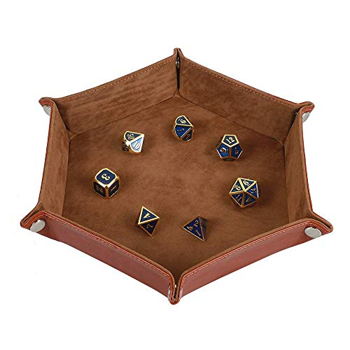 Dice Tray Metal Dice Rolling Tray Holder Storage Box for RPG DND Table Games, Double Sided Folding Thick PU Leather and High-Class Velvet -