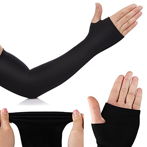 Aquax Mild Compression Arm Sleeves With Thumb Holes Sports