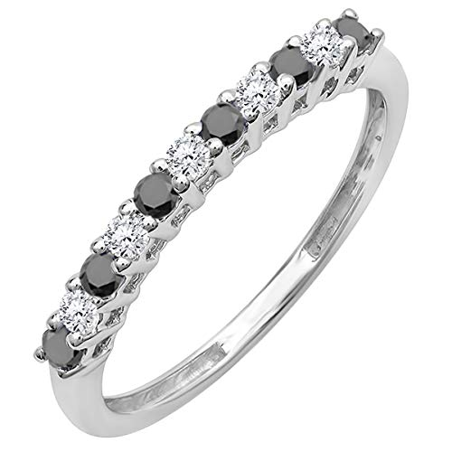 Dazzlingrock Collection 0.33 Carat (ctw) 10K Round White & Black Diamond Stackable Wedding Band 1/3 CT, White Gold, Size 8 ()