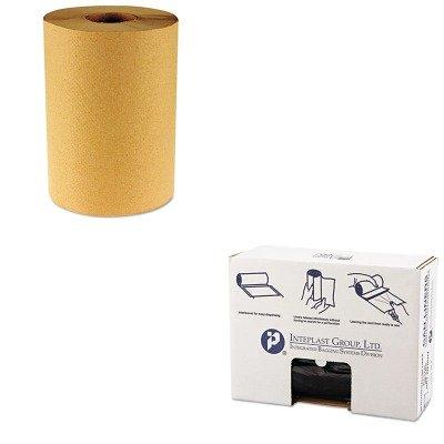 KITBWK6256IBSVALH4348K22 - Value Kit - Intelplast 19 Mic Can Liner Roll, 43 x 46, Black (IBSVALH4348K22) and Boardwalk 6256 Natural Hardwound Roll Paper Towels, 8quot; x 800' (BWK6256)