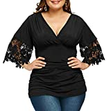 Pollyhb Women's Plus Size V-Neck Half Sleeve Ruched High Waist T-Shirt Tops Black