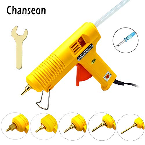 - Chanseon 150 watts Industrial Hot Melt Glue Gun US Plug with 10 Pcs Glue Sticks Adjustable Temperature Copper Nozzles for DIY Crafts and Quick Repairs