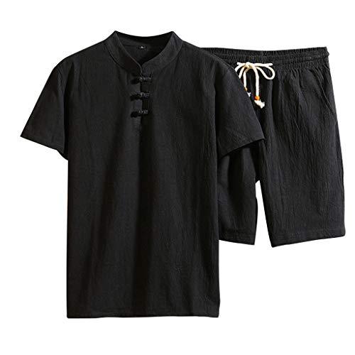VEZAD Men Shorts Suit Summer Fashion Casual Cotton Linen Short Sleeve Tracksuit ()