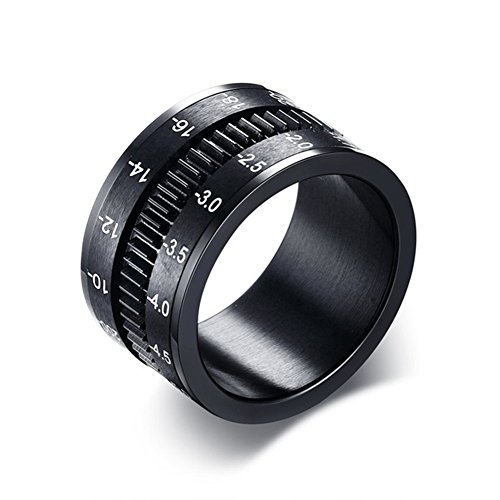 JAJAFOOK Men's Titanium Steel Camera Design Spinning Ring,Spinner Bands Rings for Anxiety,12mm