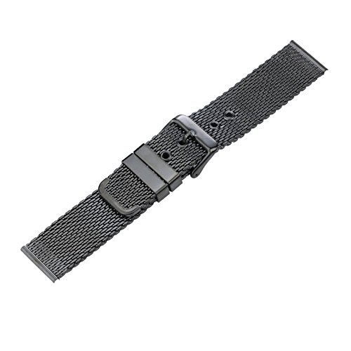 22mm High-Grade Black Stainless Steel Mesh Watch Band for Men Brushed Chain Watch Strap With Pin Clasp by autulet (Image #2)