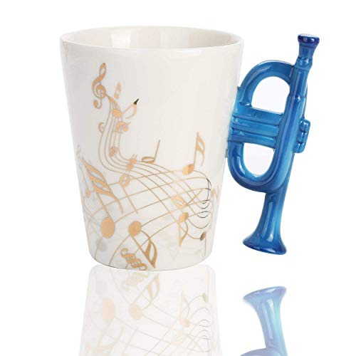 Novelty Trumpet Music Unique Art Golden Musical Notes Holds Tea Coffee Milk Ceramic Mug Cup 12 oz Best Gift
