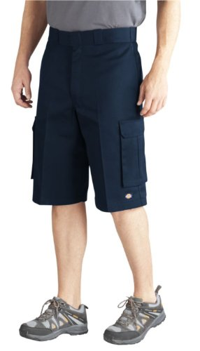 Baggy Cargo Shorts - Dickies Men's 13 Inch Loose Fit Twill Cargo Short, Dark Navy, 38