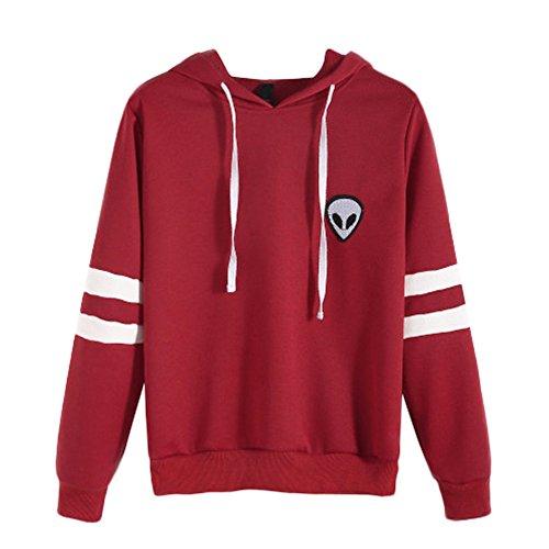 Women Hooded Sweatshirt Blouse Tops Long Sleeve Pocket hoodie Plus Velvet Casual Hoodies by Qisc (XL, Red)