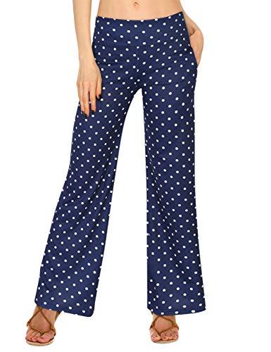 GlorySunshine Women's Elastic Waist Solid Palazzo Casual Wide Leg Pants with Pockets (L, Blue-Dot)