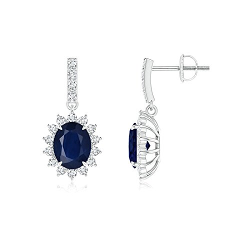 Blue Sapphire Dangle Earrings with Floral Diamond Halo in 14K White Gold (5x4mm Blue Sapphire)