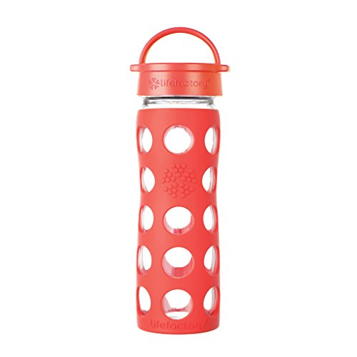 Lifefactory 16-Ounce BPA-Free Glass Water Bottle with Leakproof Classic Cap and Silicone Sleeve, Poppy