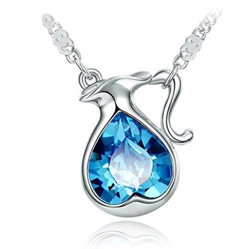 The Starry Night Blue Heart Crystal Twelve Constellations Aquarius Shining Silver Necklace 18.5