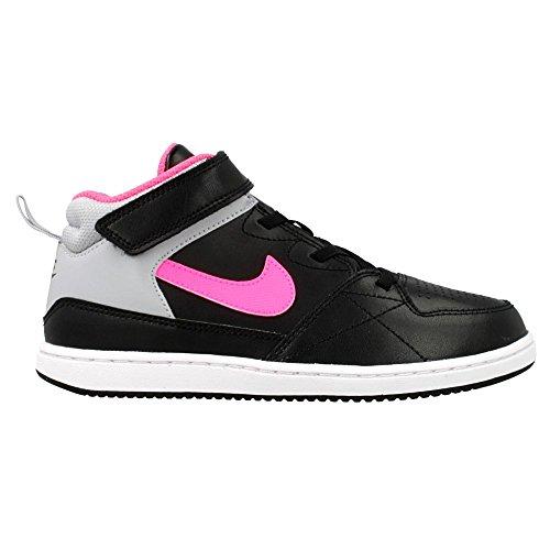 Nike Priority Mid Ps, Zapatillas de Baloncesto para Niñas Negro / Rosa / Gris (Black / Pink Pow-Wolf Grey)