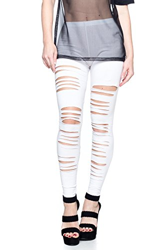 Cemi Ceri Women's J2 Love Ripped Cotton Legging, Large, White