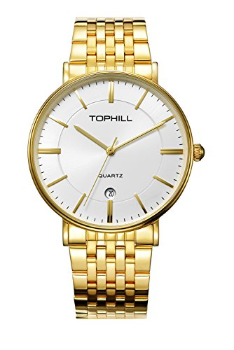 Tophill Men's RF51252M Slim Quartz Wrist Watch 18K Gold Plated Stainless Steel Band Analog - Wrist White Watch 18k