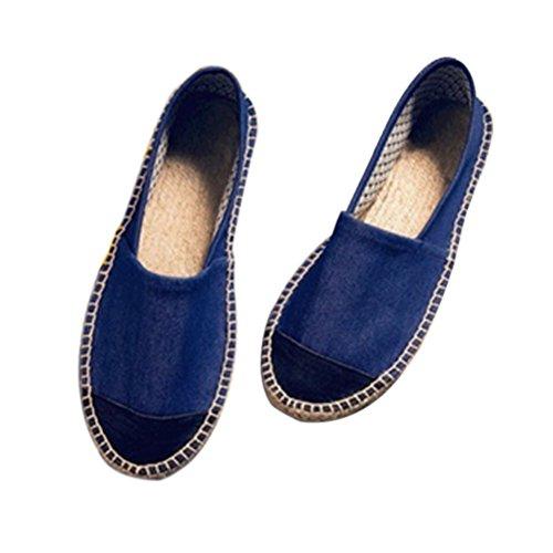 Haodasi Unisex Leisure Low Leinen Segeltuchschuhe Slip-on Schuhe Handgefertigt Hausschuhe Comfy Soft Schwarz w/Blau