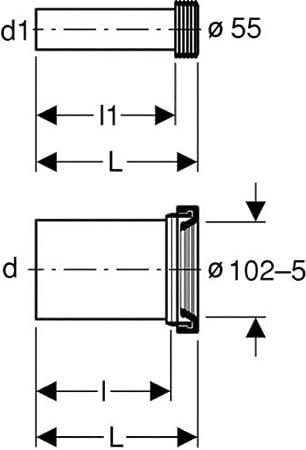 /ø 90/mm 145/mm mod/èle long sans d/érivation Geberit 152441461/Raccordement en polyester L 300/mm