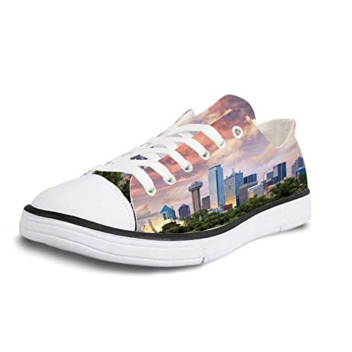 Dallas Club Chair - Canvas Sneaker Low Top Shoes,United States Dallas City Skyline at Sunset Clouds Texas Highrise Skyscrapers Landmark Decorative Women 6