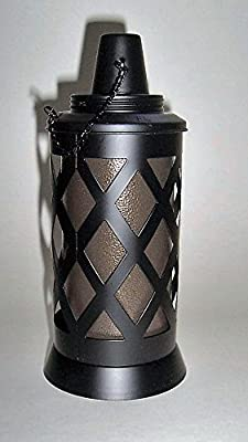 """ABC Products"" - All Heavy Metal - Designers Table top -Tiki Torch - For Citronella Oil - With Removable Canister For Refill - (Flat Black Finish - Outdoor Use Only)"