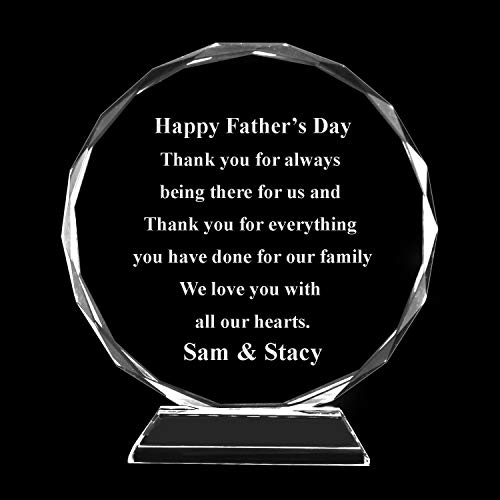 (West East Imports Personalize Customize Circular Crystal Glass Award Plaque for Personal, Business Company Rewards Gifts and Memories (Text Only, Large))