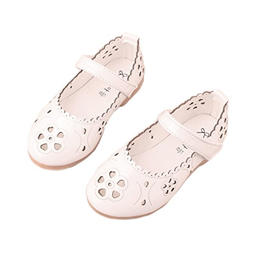 Toddler Girl Flower Hollow Out Mary Jane Closed Toe Sandals Princess Dress Shoes White Size 21