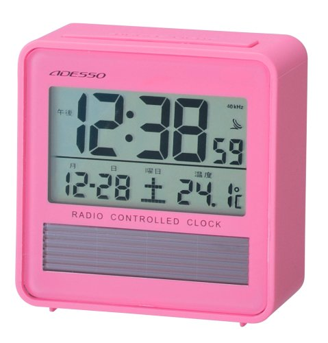 ADESSO ( Adesso ) with radio digital alarm clock solar power thermometer Pink C-8367PK