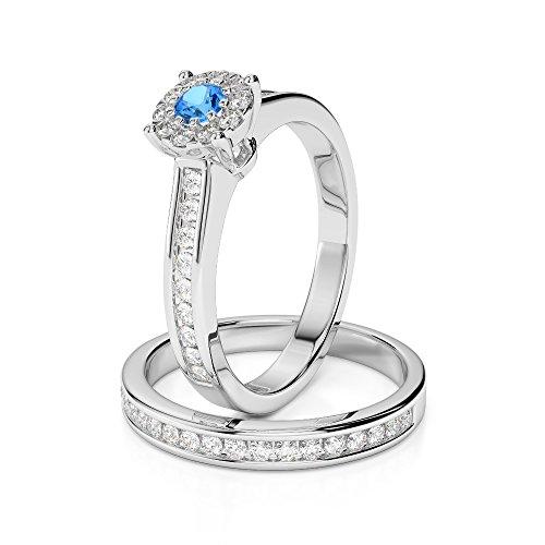 Or blanc 18carats 0,10ct G-H/VS sertie de diamants Coupe ronde Topaze bleue et de mariage Bague de fiançailles et ensemble de Agdr-1339