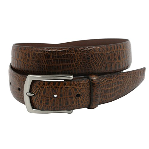 Calfskin Embossed Belt (Torino Leather Embossed Alligator Calfskin Belt, Cognac - Size 38)