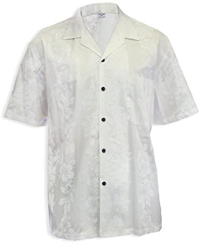 Wedding Hibiscus Panel Aloha Shirt, WHITE, XL (Aloha Island Resort)