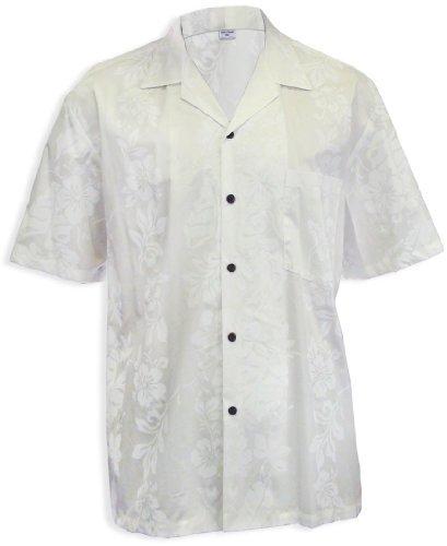 Wedding Hibiscus Panel Aloha Shirt, WHITE, XL - Island Aloha Shirt