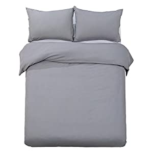Word of Dream Brushed Microfiber 3 PC Solid Duvet Cover Set, Full/Queen, Gray