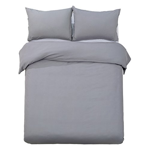 Brushed Polyester Cover (Word of Dream Brushed Microfiber Solid Duvet Cover Sets 3 PC, Luxury Soft, Full/Queen -)