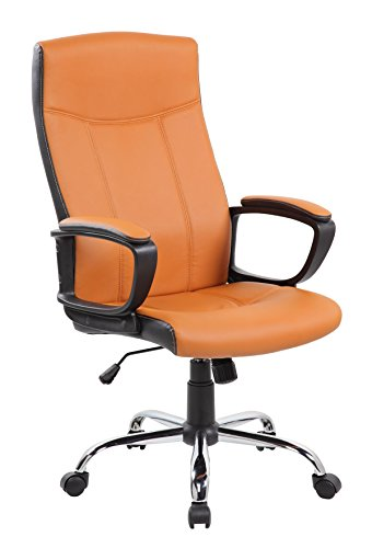 EuroStile High Back Swivel Office Computer PU Leather Chair, Brown United  Chairs
