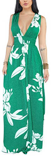 Empire Sandal Wrap - Women Sexy V Neck Tropical Dress Summer Bodycon Empire Waist Backless Floral Bohemia Long Maxi Gown Casual Sleeveless Stretchable Loose Party Cocktail Dresses