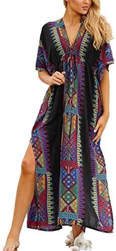 Bsubseach Women Beachwear Turkish Kaftans Long Swimsuit Cover up Caftan Beach Dress