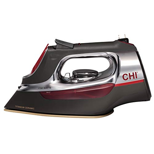 CHI (13106) Steam Iron With Retractable Cord, Titanium Infused Ceramic Soleplate & Over 400 Steam Holes, Professional (Best Iron With Titanium Anti)