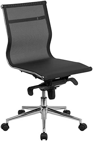 Flash Furniture Mid-Back Transparent Black Mesh Executive Swivel Office Chair with Synchro-Tilt Mechanism